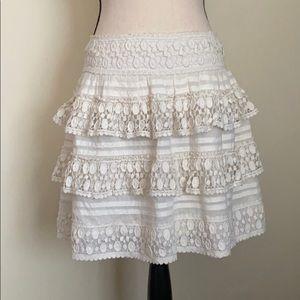 Anthropologie Leifsdottir Cream Lace Tiered Skirt